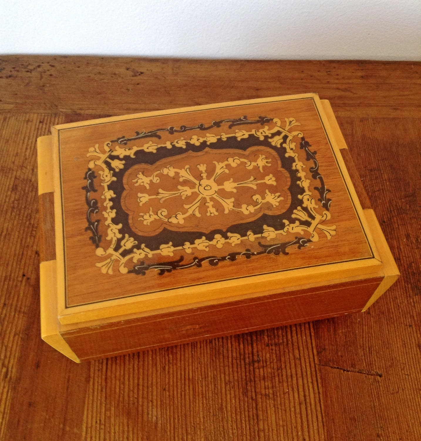 vintage 60 s wooden table top jewelry box haute juice