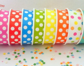 100 Polka Dot Ice Cream Cups - Your Choice of Color - Medium 12 oz