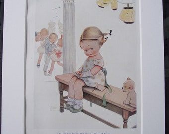 ORIGINAL 1923 print (Book Plate) by Mabel Lucie Attwell