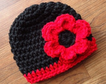 Crocheted Baby Girl Hat with Flower ~ Black and Bright Red ~ Baby Shower Gift ~ Newborn to 5T  ~ MADE TO ORDER