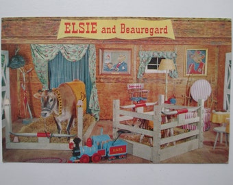 Vintage Borden's Advertising POSTCARD ELSIE the Cow and her son BEAUREGARD c. 1950 near mint unused