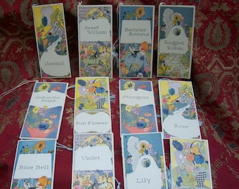 "Circa 1920'S Unused Boxed Set of ""FLOWER Series"" BRIDGE TALLIES in Excellent Condition"