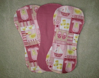 Baby girl burp cloths, Pink and yellow burp cloths, Set of 3 burp cloths
