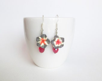 ON SALE Grey and Red Plumeria Flower Earrings