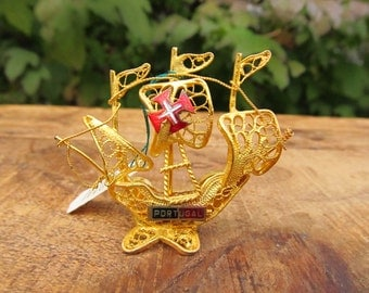 Vintage Metal Filigree Ship Figure - Portugal Ship Souvenir