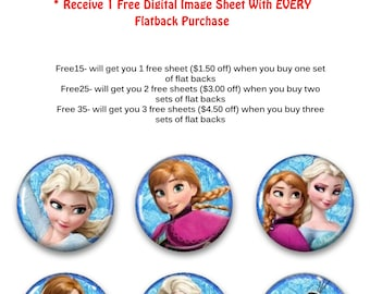 6 Frozen flat backs cabochons for hair bows and get a FREE digital image sheet frozen hair bow hair bow centers hair bow supply supplies