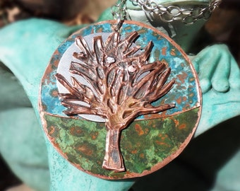 Verde Patina Copper Circular Round Turquoise Copper Hand Cut Embossed Tree of Life Moon Pendant Necklace Sterling Silver Boho