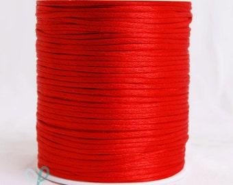 2mm x 100 yards Rattail Satin Nylon Trim Cord Chinese Knot - RED