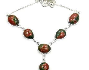 Rare Natural Unakite & .925 Sterling Silver Y-necklace Z207