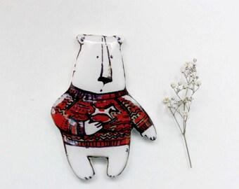 White bear brooch pin FREE SHIPPING Animal pins bear jewelry animal jewelry clay bear, gift under 25 (0116)
