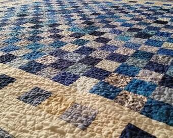 BLUE Quilt, Made To Order, Lap Size Quilt, Handmade Blue Quilt, Modern Quilt