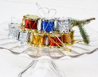 Vintage Drum Christmas Tree Ornaments- Set of Nine