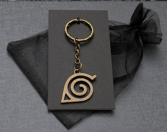 Naruto Hidden Leaf Village emblem bronze tone keychain / keyring