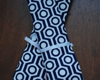 Little Boy Neck Tie - Geometric Navy and White