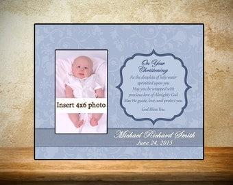 Personalized Baptism/Christening Frame - Light Blue Theme