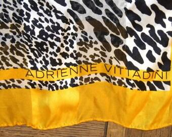 1980s 80s Silk Scarf / Adrienne Vittadini / Leopard/Animal Print / Gold trim / long scarf / Vintage / Designer