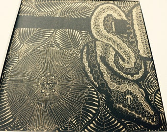 Gold Snake Screen Print by Quantum