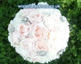 Large Pale Pink and Ivory Rose Brides Bouquet Finished with Brooches - This can be made in any colour