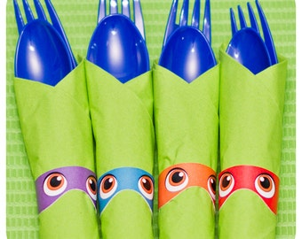 Teenage Mutant Ninja Turtle Napkin Rings; TMNT Party; Ninja Turtle Birthday Party
