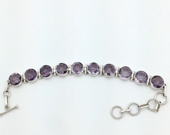 Amethyst Cushion Cut Bracelet