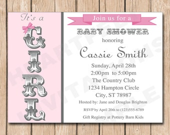 Fancy Girl Baby Shower Invitation | Shabby Chic - 1.00 each printed or 10.00 DIY file