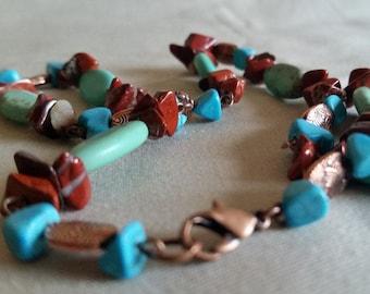 Magnesite, Red Jasper, & Turquoise Necklace