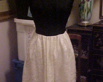 1960s Black with White Lace Skirt Formal,has White Taffeta Slip Small/medium