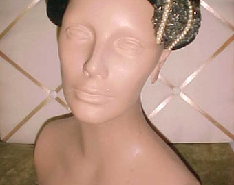 1940s Black Felt Hat with Large Ornament of Beads & Pearls Lovely#H20