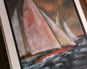 Original signed gouache painting of a sailboat