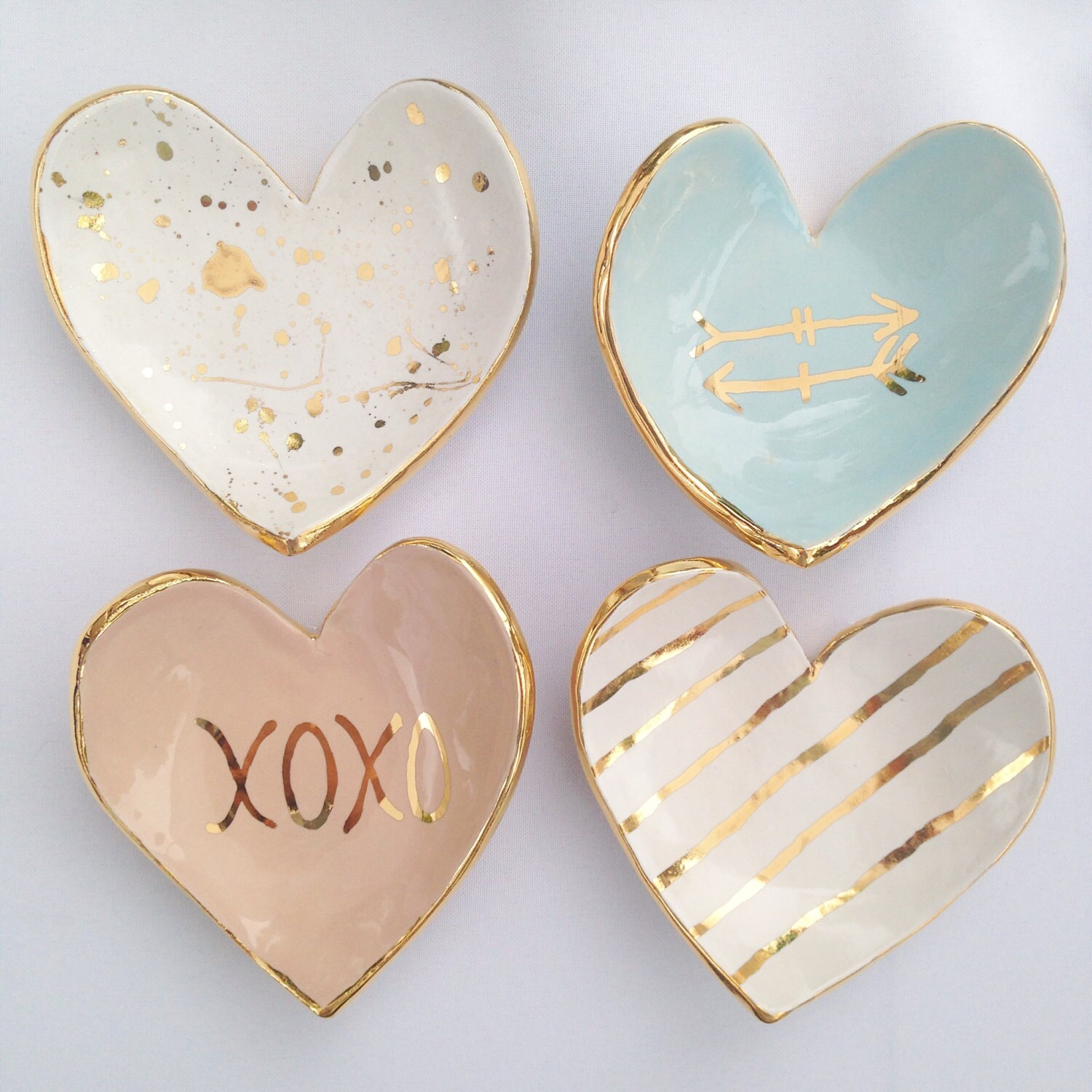 Heart shaped handmade ceramic ring dish 22k gold luster for Heart shaped jewelry dish