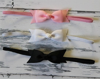 Baby Headband, Baby Hair Bow, Baby Bows, Baby Headband Set, Baby Shower Gift, Baby Girl, Baby Pink Headband, Baby White Headband, Baby Bow