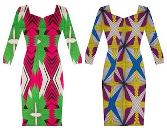 "Plus size African Dress, African clothing, ""A M I"" Dress."