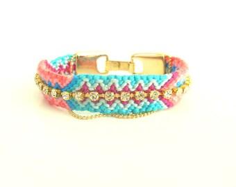 OOAK Brazilian Bracelet friendship bracelet boho bracelet hippie Swarovski bracelet braided bracelet colorful bracelet rhinestone bracelet