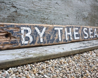 "Wood Beach Sign By The Sea 36"" Beach Wood Sign Beach Decor Nautical Decor Nautical Sign large Rustic Sign"