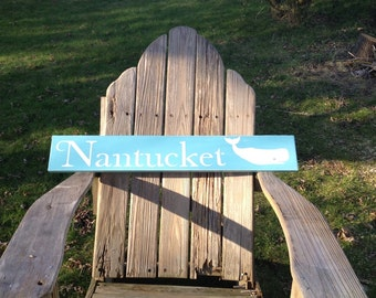nantucket wood sign with whale, distressed turquoise and white