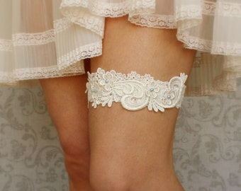 "Lace Bridal Garter, Something Blue Wedding Garter, Lace Garter, Beaded Garter, Ivory or White Lace Garter; Garter with Pearls - ""Lucille"""