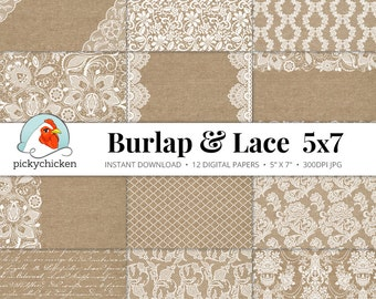 Burlap Lace Digital Paper 5x7 - Burlap & Lace rustic wedding invitation template country shabby chic Instant Download 7002