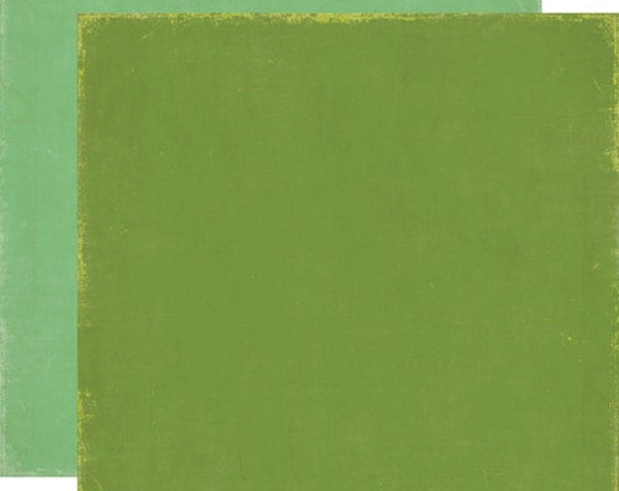 2 Sheets of Echo Park Paper FOR THE RECORD 12x12 Scrapbook Paper - Green/Green