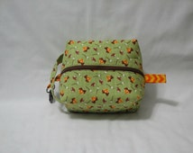 Campfire Smores Glamping Boxy Knitting Crochet Project Bag, Cosmetic Pouch, Ditty bag, Makeup Toiletry Bag, Diaper bag pouch, Pet Supplies