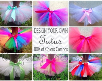 Design Your Own TUTU - Tutu with Clip on Satin Bow - Pick any combo of colors - Tutus fit any age - Photo Prop, Girl Birthday Outfit