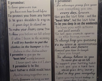 His and Hers Wedding Vows Set of 2 Wood Signs His and Hers Gifts Anniversary Gift Wedding Gift Custom Vows Personalized Gift