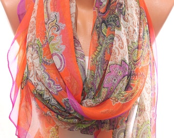 Paisley Print Orange Fuchsia Silky Chiffon Spring Summer Scarf Pareo Coverup Women's Fashion Accessories Holidays Gift Ideas For Her
