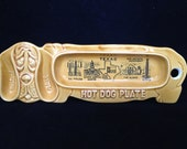 Vintage Ceramic Hot Dog Plate - Hot Dog Holder - Mid Century Kitchen