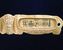 Vintage Ceramic Hot Dog Plate - Hot Dog Holder - Mid Century Kitchen