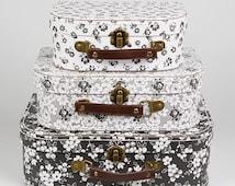 Set of 3 Parisian Floral Suitcase/Vintage Style/ Case/Storage/Shabby Chic- Ideal For storage, Keepsake Box