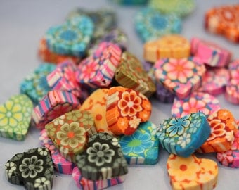 Colorful Polymer Heart Beads