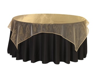 72 inch Square Organza Table Overlay Gold | Wedding Table Overlays