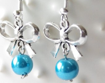Bridal Bow Earrings / Blue Pearl Bow Earrings * Silver Bridal Bow Earrings * Bow Drop Earrings