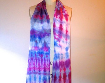 Hand Dyed Satin Silk Scarf -100% Silk (MAGENTA RAIN)