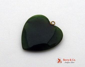 Carved Jade Nephrite Heart Pendant